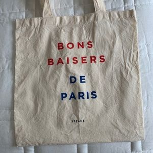 "Sezane Canvas Tote Bag ""Bons Baisers de Paris"""